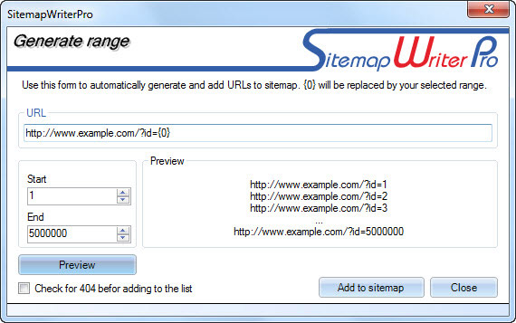 generating URLs with parameter range
