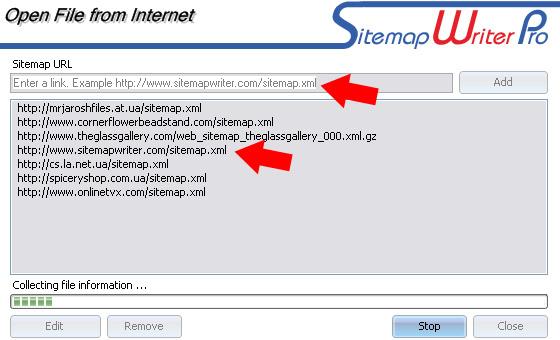 Select sitemap URL